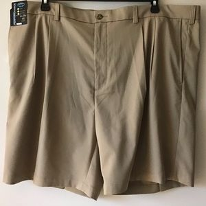 Shorts 46 Big Man Front Pleats Tan NWT R& Yorke